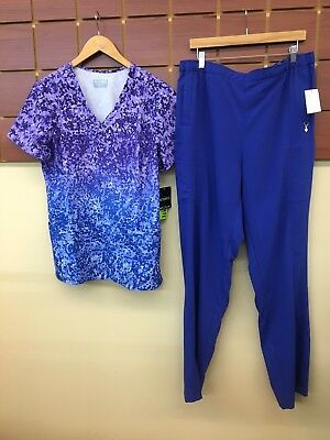 NEW Galaxy Blue Print Scrubs Set With Med Couture XL Top & XL Tall Pants NWT