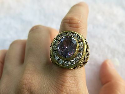 Amethyst Antique bronze Ring Vintage Purple stones Size 10 Huge costume Jewelry