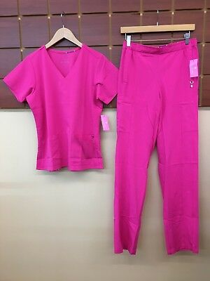 NEW Vera Bradley Pink Solid Scrubs Set With Small Top & Small Tall Pants NWT
