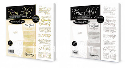 Hunkydory - Trim Me! Foiled Insert Pads - Thinking of You  Gold & Silver