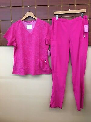 NEW Vera Bradley Pink Print Scrubs Set With Large Top & Large Tall Pants NWT