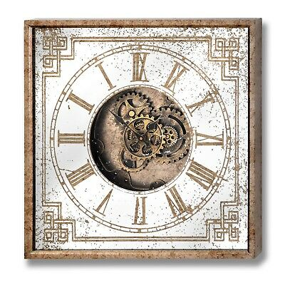 Antique Style Mirrored Gold Square Industrial Cog Wall Clock (H18571)