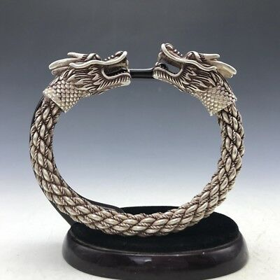 Old China's Miao silver Handmade twist-style creative Dragon Bracelet  a168