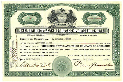 Merion Title and Trust Company of Ardmore. Stock Certificate. Pennsylvania