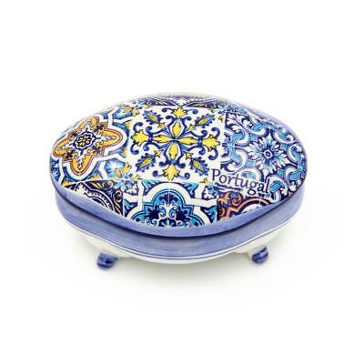 Hand-painted Decorative Traditional Portuguese Ceramic Footed Jewelry Box