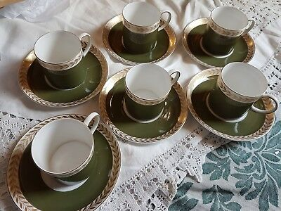 Susie Cooper Six Vintage Green & Gold leaf Coffee cups & Saucers Good condition