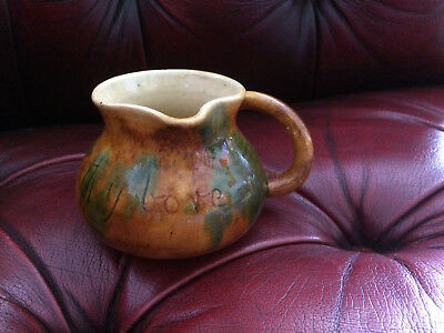Ewenny Clay pits Pottery small milk jug inscribed in welsh