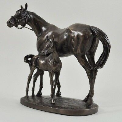 Mare & Foal Horse Figure By David Geenty Signed Cold Cast Bronze Double Figure