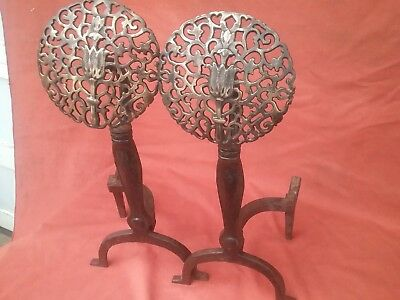 Antique Howes Andirons Brass and Cast Iron Combination