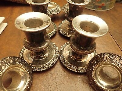 4 Ornate Silver Plated Candlesticks 2 pieces each