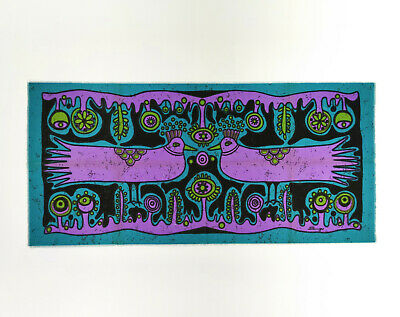 Vintage XL 1960s Flower Power Psychedelic Doves Fabric Wall Hanging - Signed