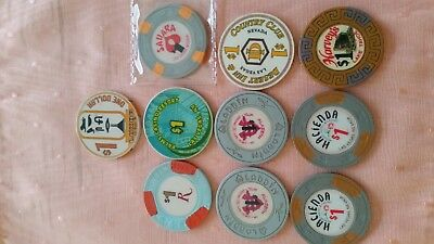 12 vintage Las Vegas Casino chips Rare - must see 2 more added