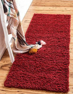 Washable Non Slip Hall Shaggy Runner Rug Red Hallway Runner 60 x 220 Verona 63