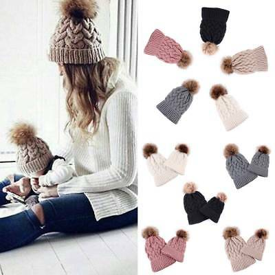 2PCS Women Kid Baby Warm Winter Knit Beanie Fur Pom Bobble Hat Crochet Ski Cap