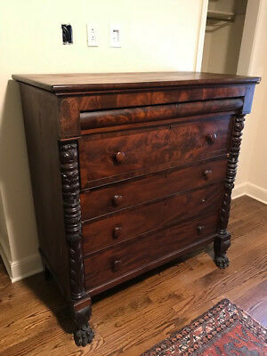 Antique Empire Style Wood Chest Of Drawers