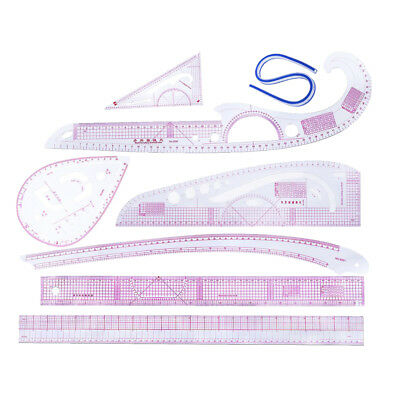8Pcs Multi-style French Curve Ruler Set for Designers Clothes Pattern Making