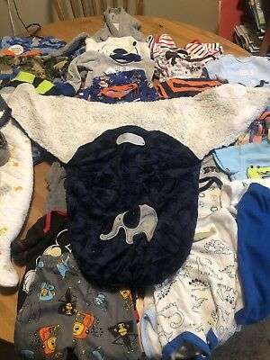 35 Piece Boys Lot 0-3 Months Clothing W/ 92 Size 2 Diapers