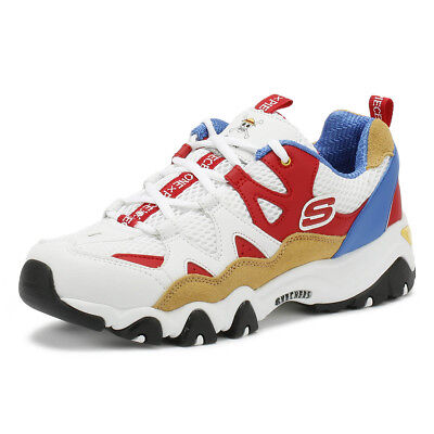 Skechers One Piece D'Lites 2 Womens Trainers White / Red Casual Walking Shoes