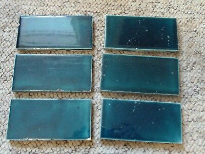 Reclaimed Vintage Hearth Tiles Sea Green Colour 11cmX5.5cm Sold in set of 10.