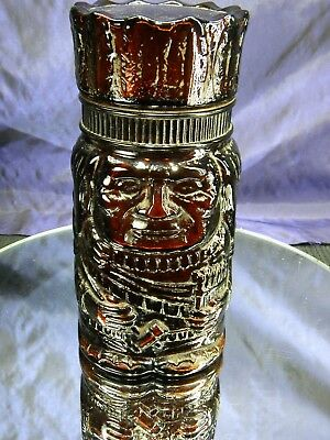 Vintage El Producto Indian Chief Amber Glass Jar Tobacco Humidor Cigar Jar