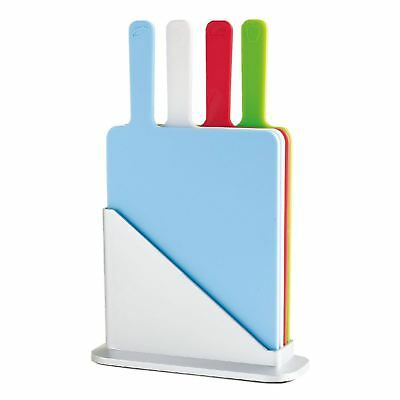 5pc Symbol Colour Coded Index Chopping Board Set 4 Cutting Boards Stand Kitchen