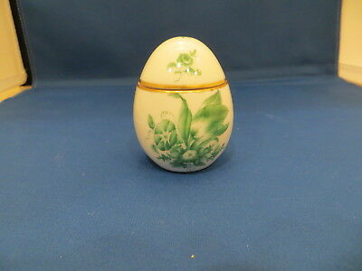 Herend-Hungary Chinese Bouquet Green upright EGG shape covered box Hand Painted