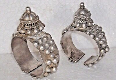 2 Pc. ANCIENT ANTIQUE TRIBAL OLD 100% PURE Silver BRACELET BAJUBAND FOR BICEPS