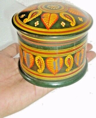 Rare Indian, Wooden Handicrafted Old Vintage Engraving Small Colorful Round Box
