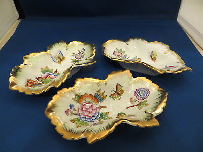 Herend-Hungary Lot of 3 Queen Victoria pattern nut/candy dishes Hand Painted