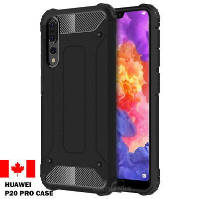 Huawei P20 Pro Case - Rugged Hybrid ShockProof Back Cover Black Case Canada