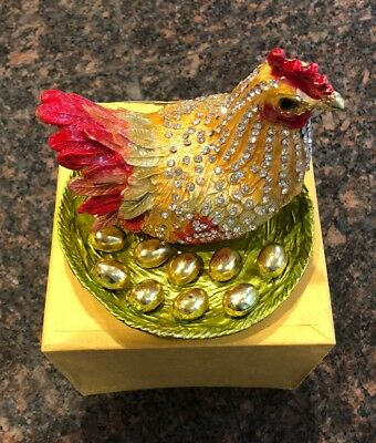 Chinese Cloisonne Inlaid Rhinestone rooster Statue Jewelry Box ( decor)