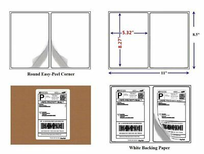 2000 Half Sheet Shipping Label 8.5x5.5 Self Adhesive Round Corner for Paypal UPS