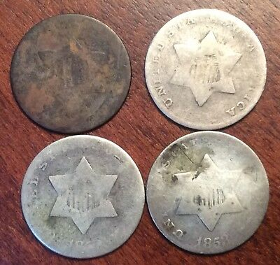 3 cent silver lot 1852 1853