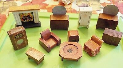 MIXED LOT OF 11 pcs. ANTIQUE WOOD DOLL HOUSE Nancy Forbes & Kage FURNITURE