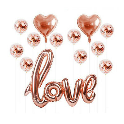1set Heart Confetti Balloons Air Filled Foil Love Balls Rose Gold Party Decor