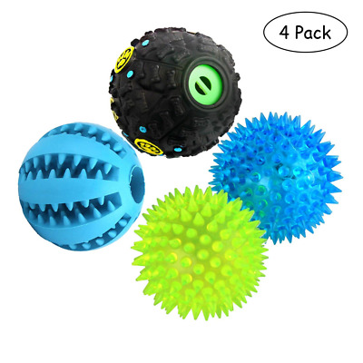 Dog Treat Dispensing Toy 4pc,IQ Ball with Squeaker, Rubber Chew Puzzle Toys Best