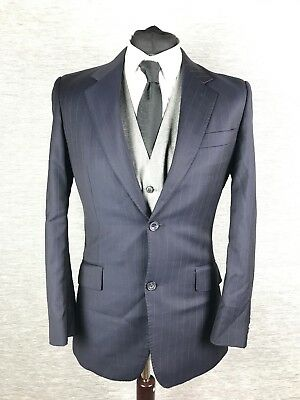 TM Lewin Mens Blazer Size 36R Navy Pin Striped Wool