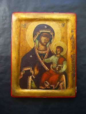 """Antique Russian icon """"Mother of God with Jesus Christ"""" 19th century"""