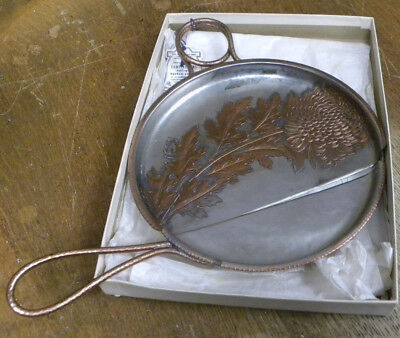 Antique ARTS & CRAFTS Beaten Copper #625 Crumb Pan & Scraper, Spider Mum