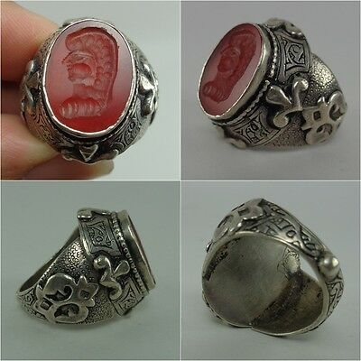 Face Silver Ancient Intaglio Ring Old  Beautiful Stone Agate Solid Rare Emperor