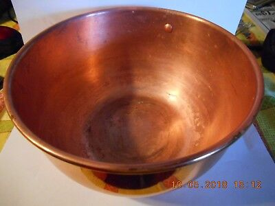 "Vintage Collectible 8 1/2""  Copper Mixing Bowl. Rolled lip. Brass hanging ring"