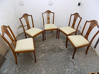 five,yew,shield back,dining chairs,tapered legs,spade feet,chairs,drop in seats