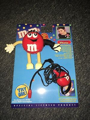 M&M's Chocolate Figure Miniature Red Telephone Ear Phone MIC Cord Necklace