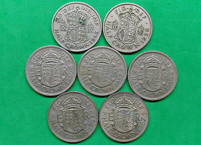 Lot of 7 Different Old British Half Crown Coins 1948-1967  !!