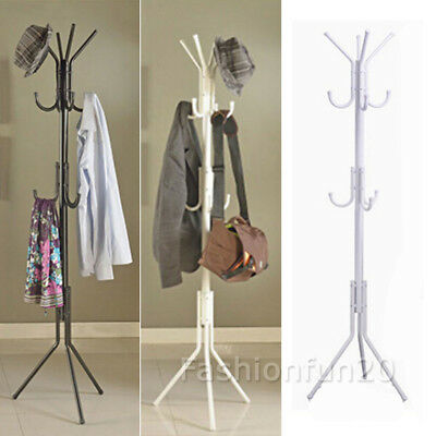 NEW 11 Hook Coat Hanger Stand 3-Tier Hat Clothes Rack Metal Tree Storage Black
