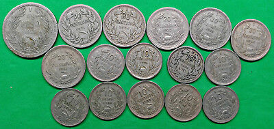 Lot of 16 Different Old Chile Coins 1921-1940 Vintage South American  !!