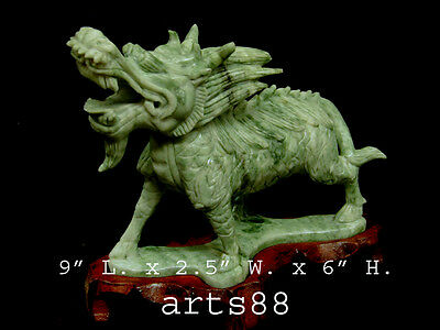 Carved Chinese Green Jade Stone Kirin - Kanji An Ancient Mythological Beast  #15