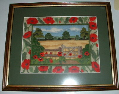 Framed Remembrance Poppy Field Embroidery Picture