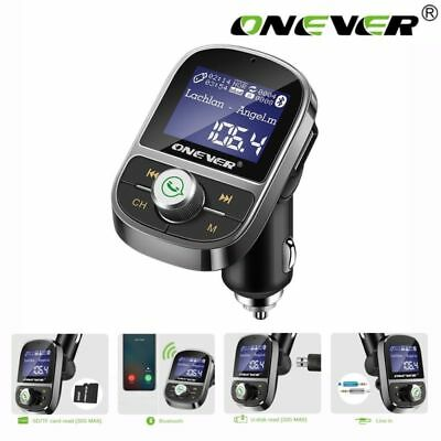 "ONEVER 1.4"" Dual USB 3.1A Car Kit Bluetooth FM Transmitter Wireless Car Charger"