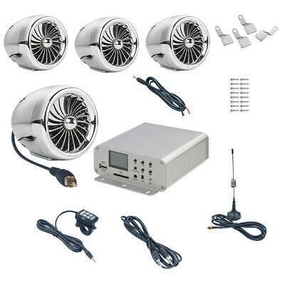 DC 9-25V 1000W Amplifier Bluetooth Stereo 4 Speakers for Motorcycle Chrome